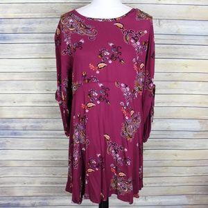 Dresses & Skirts - Paisley Tie Sleeve Boho Dress Wine Red Small